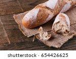 sourdough baguette bread on a...   Shutterstock . vector #654426625