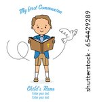 invitation my first communion.... | Shutterstock .eps vector #654429289