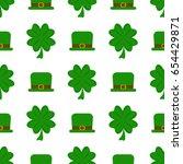 vector seamless clover pattern... | Shutterstock .eps vector #654429871