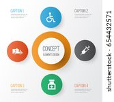 drug icons set. collection of... | Shutterstock .eps vector #654432571