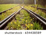 old rusty rails. tram tracks ...   Shutterstock . vector #654438589