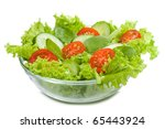 salad with vegetables on white...   Shutterstock . vector #65443924