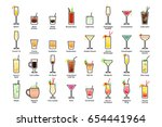 alcoholic cocktails with titles....   Shutterstock .eps vector #654441964