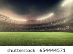 soccer stadium with... | Shutterstock . vector #654444571