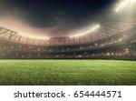 soccer stadium with... | Shutterstock . vector #654444571