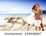 summer time and two lovers on... | Shutterstock . vector #654448687