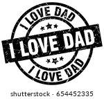 I Love Dad Round Grunge Black...