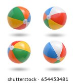 beach balls collection isolated ... | Shutterstock . vector #654453481