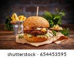 tasty grilled beef burger...   Shutterstock . vector #654453595