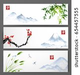 banners with mountains  bamboo  ... | Shutterstock .eps vector #654457555