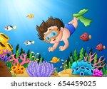 vector illustration of cartoon... | Shutterstock .eps vector #654459025