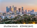 the skyline of los angeles at... | Shutterstock . vector #654461641