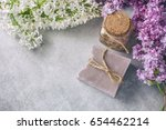 handmade soap  glass jar with... | Shutterstock . vector #654462214