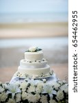 beautiful wedding cake  close... | Shutterstock . vector #654462955