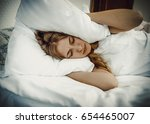 insomnia problems in bed. | Shutterstock . vector #654465007