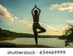 yoga young women. | Shutterstock . vector #654469999