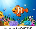 cute clown fish cartoon in the... | Shutterstock . vector #654471349