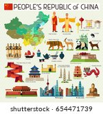 map of china and travel icons... | Shutterstock .eps vector #654471739