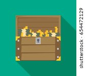 open treasure chest isolated... | Shutterstock .eps vector #654472129