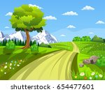 summer landscape with meadows... | Shutterstock . vector #654477601