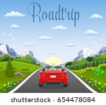 highway drive with beautiful... | Shutterstock . vector #654478084