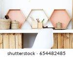 modern diy desk made of wooden... | Shutterstock . vector #654482485