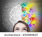 close up of a blond teen girl s ... | Shutterstock . vector #654484825