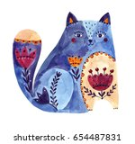 watercolor blue cat | Shutterstock . vector #654487831