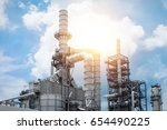 industrial view at oil refinery ... | Shutterstock . vector #654490225