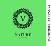 abstract wreath monogram round... | Shutterstock .eps vector #654492721