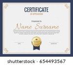 vector certificate template. | Shutterstock .eps vector #654493567