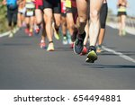 marathon running race  people... | Shutterstock . vector #654494881