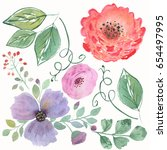 colorful floraal watercolor set.... | Shutterstock . vector #654497995