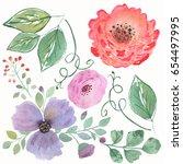 colorful floraal watercolor set.... | Shutterstock . vector #654497995