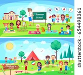 summer school and childrens... | Shutterstock .eps vector #654498361