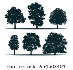 tree silhouettes   oak  elm ... | Shutterstock .eps vector #654503401