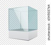 3d empty transparent glass... | Shutterstock .eps vector #654503764