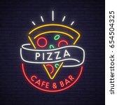 pizza logo  emblem. pizza neon... | Shutterstock .eps vector #654504325