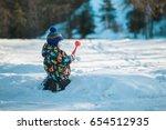 Boy Winter Outside In The Wood...