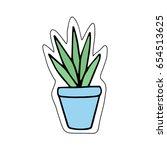 cute little cacti in blue plant ... | Shutterstock .eps vector #654513625