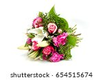 wedding bouquet made of pink... | Shutterstock . vector #654515674