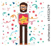 happy fathers day concept with... | Shutterstock .eps vector #654522679