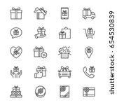 gift thin icons | Shutterstock .eps vector #654530839