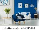 blue and white living room... | Shutterstock . vector #654536464