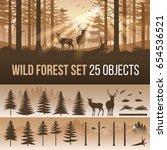 evergreen forest set of... | Shutterstock .eps vector #654536521