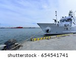 the ship docked at the dock  | Shutterstock . vector #654541741