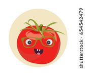smiling cute tomato character... | Shutterstock .eps vector #654542479