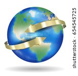 real world earth planet with... | Shutterstock .eps vector #654545725