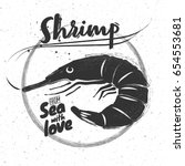 chalk logo black shrimp on...   Shutterstock .eps vector #654553681