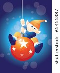 santas helper swinging on bauble | Shutterstock .eps vector #65455387